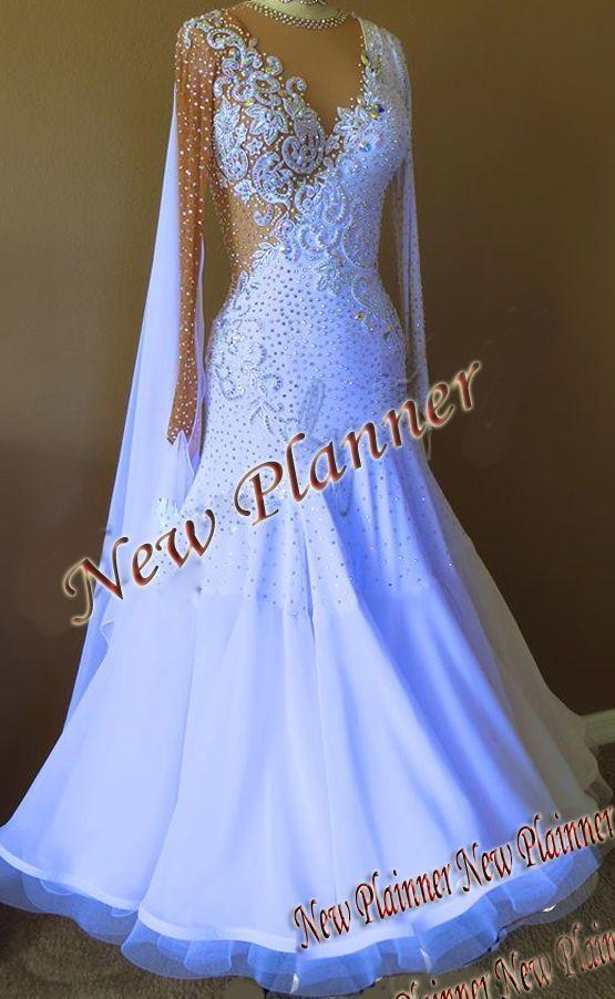 1423cfd9e9 B4889 Ballroom Smooth Standard swing Waltz Quickstep US 12 Dance Dress white   newplainner  ballroomdress  prom