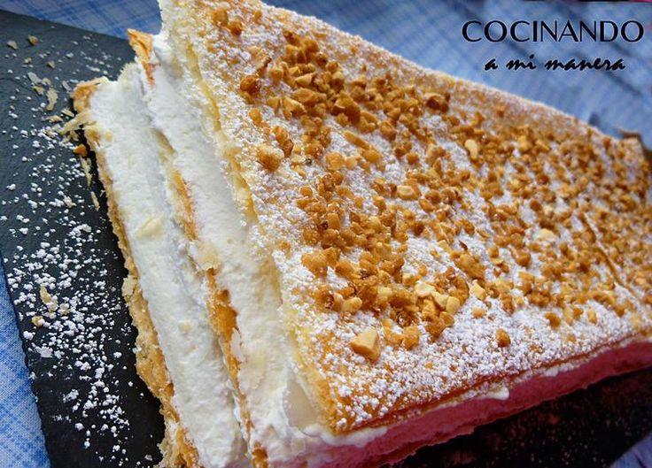 Tarta milhojas de nata   Cocinar en casa es facilisimo.com