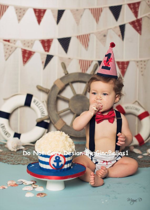 Nautical Birthday cake smash outfit chevron anchor by GinaBellas1
