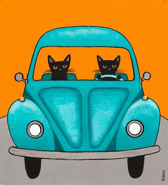Turquoise Road Trip Cats Original Cat Folk Art Painting by KilkennycatArt