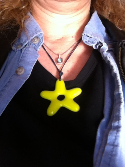 Loving this Star Power necklace made with used glass by Canadian artist Tracy John in Harrowsmith, ON.  Want one in all 5 colors (ivory, lemongrass, orange, yellow & aqua)