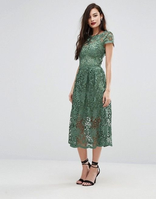 Shop Bodyfrock Lace Midi Skater Dress With Cap Sleeve At ASOS
