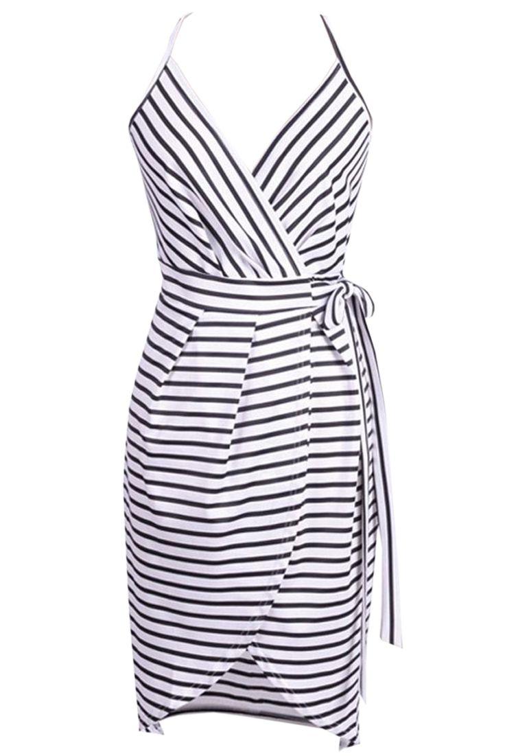 Azbro Women's Spaghetti Strap V Neck Surplice Stripe Dress