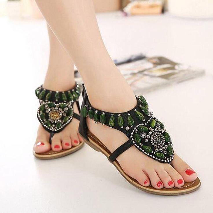 Vintage Green Rhinestone Slip On Casual Sandals