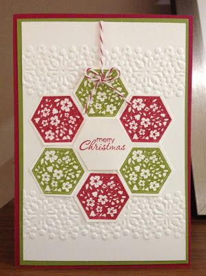 handmade Christmas card .... quilt design wreath/flower .. hexagons stamped in red and green ... baker's twine ... embossing folder texture ... luv it! ... Stampin' Up!