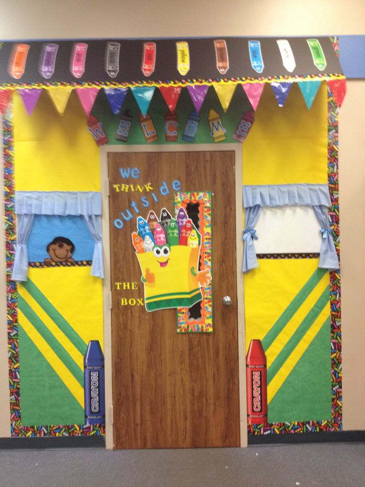 Preschool Classroom Door Decoration ~ Crayon door decoration colorful pinterest doors