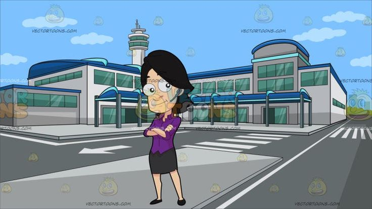 A Confident Female Stock Broker At Outside An Airport Terminal:  A woman with black hair wearing a violet blouse dark gray skirt and black shoes gray bluetooth earpiece in her left ear smirks and crosses her arms on her chest. Set in an airport building with green glass windows light gray walls gray roads blue roofing and a command tower.