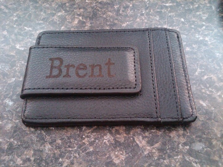 Our Leather Money Clip Wallet with laser etching.