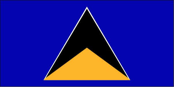 The flag of St. Lucia was officially adopted on March 1, 1967.           The blue field represents the Caribbean Sea, and the triangles symbolize the island's famous Pitons - the twin volcanic peaks.