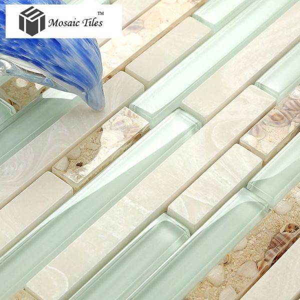 TST Glass Conch Beach style Mother Of Pearl Tile Resin Glass Tile Aqua White Stone Marble Tile Kitchen Backsplash Deco Bathroom Wall Art by krista