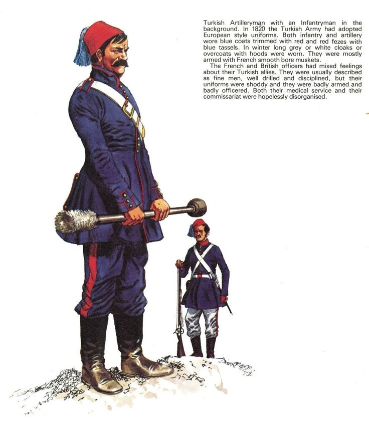 Ottoman artilleryman and infantryman in the Crimean War, 1853-56