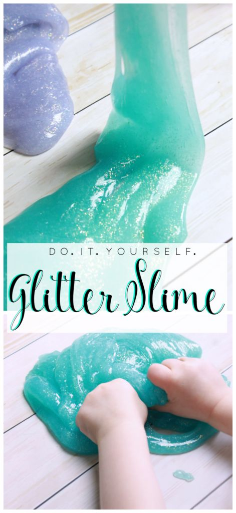 Child playing with aqua glitter slime