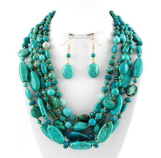Chunky turquoise semi precious stones maybe with for Turquoise colored fashion jewelry