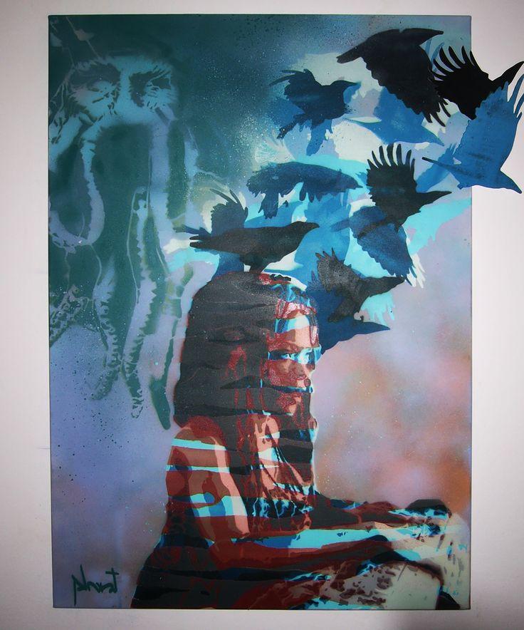 """""""Calypso"""" 6 layers stencil on 100x70 canvas"""