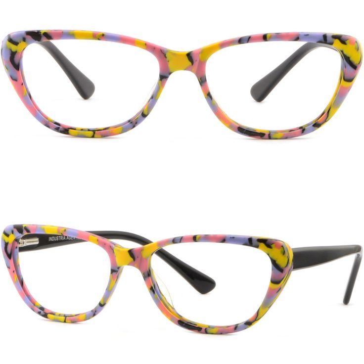 Women's Cat Eye Plastic Frames Spring Loaded Hinges Prescription Glasses Yellow #Unbranded