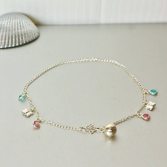 Silver Anklet Butterfly Charm Anklet Minimalist Silver