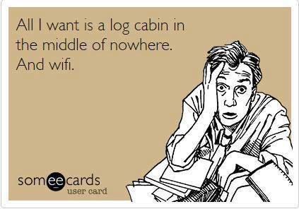 Ah yes! Perfect life at the vacation log cabin!