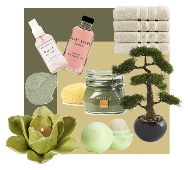 """Home spa"" by oana-grigorie on Polyvore featuring beauty, HomArt, Bobbi Brown Cosmetics, Herbivore Botanicals, Eos, Borghese and Christy"