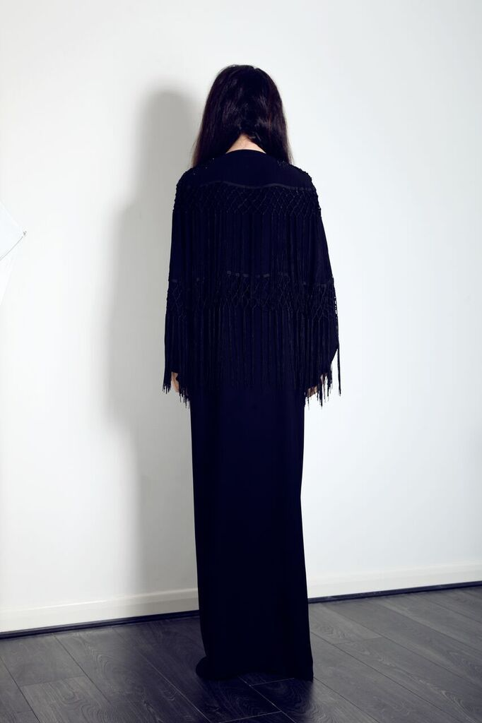 The back of our beautiful fringe, cape Abaya. Get this Abaya from our website now, only £99
