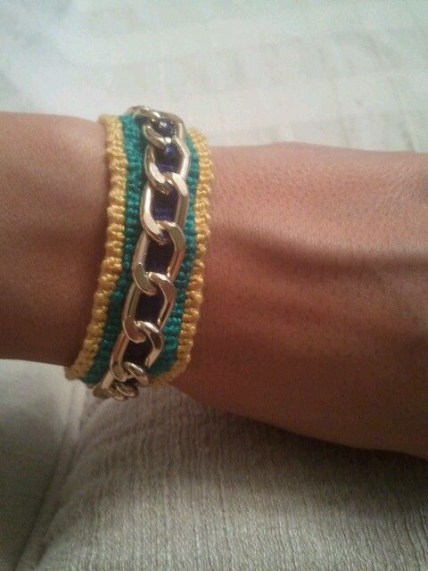 yellow green  blue chain friendship bracelet