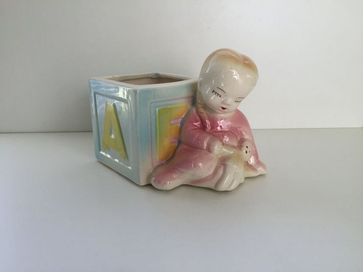 Vintage 50s Baby Girl Baby Toy Block Planter Vase Possibly Shawnee by datedgoods on Etsy
