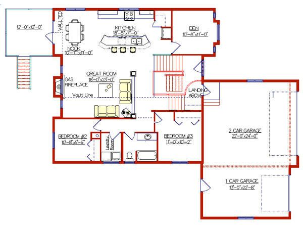 Modified bi level with 3 car garage 2004135 by e designs Bi level house plans with garage