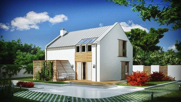 #Projekt TCJ-519: to zgrabny, kompaktowy dom z poddaszem użytkowym. Prosta bryła przekryta dwuspadowym dachem oraz drewniane elementy wykończenia elewacji nadaja mu nowoczesnego charakteru. Główną zaletą projektu jest fukcjonalnie rozplanowane wnętrze na stosunkowo niedużej powierzchni użytkowej.