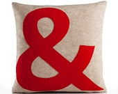 AT SYMBOL-  block font 16x16 inch recycled felt applique pillow - oatmeal and red. $69.00, via Etsy.