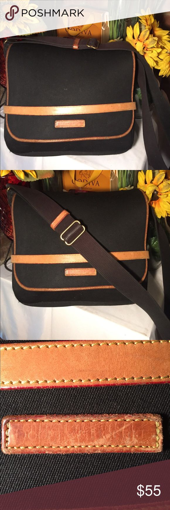 Dooney & Bourke Messenger Sz 11x13- 23' strap- Good condition- Canvass material- leather trim- Black/Tan- Small laptop will fit- Clean interior- Very nice bag. Dooney & Bourke Bags Laptop Bags