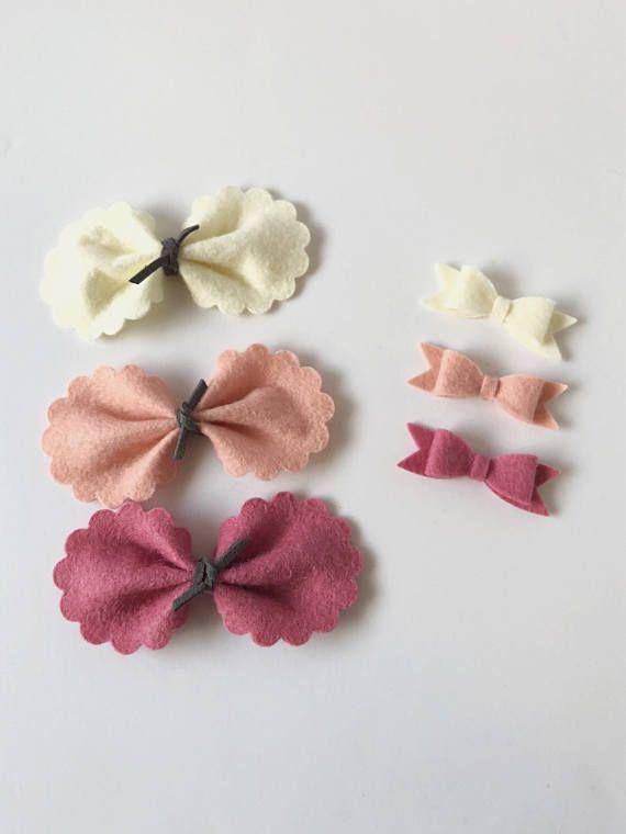 Simple bows,felt bows handmade bows bow nylon headbands small felt hair clips elastic headbands