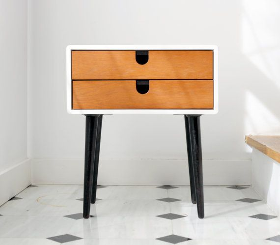 Mid-Century Scandinavian Side Table / Nightstand - Two drawers and retro legs made of solid oak on Etsy, $698.03