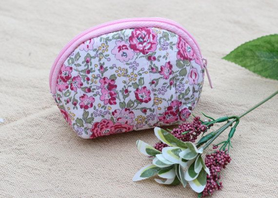 Cotton Coin Purse Floral Pattern Women Zipper by LaLannaThai