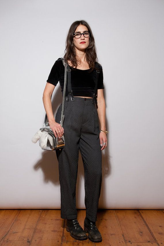 Vtg 90s Suspender Pants High Waist 90210 Grunge Striped