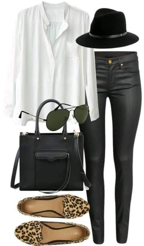 db0c9867498 Pantalón negro camisa blanca zapatos animal print