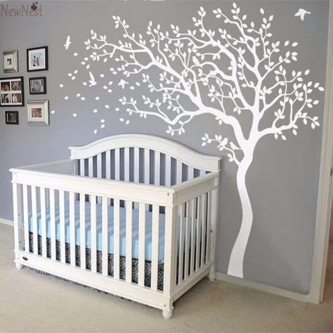 2016 grande árvore vinil árvore e pássaros arte do decalque berçário crianças quarto adesivos de parede DIY decoração