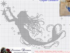 Free Mermaid cross stitch pattern #stitching #people                                                                                                                                                      More