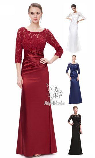 uzun abiye elbise kısa kollu saten ve dantel işlemeli  abiye ,abiye elbise,kısa abiyeler,uzun abiye,online abiye,ucuz