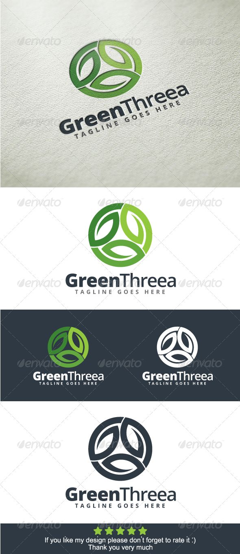 Green Three Logo Template