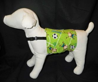 Belly bands for male dogs who mark!  These have a chest strap so your dog can't wriggle out!  These will save your sanity!!
