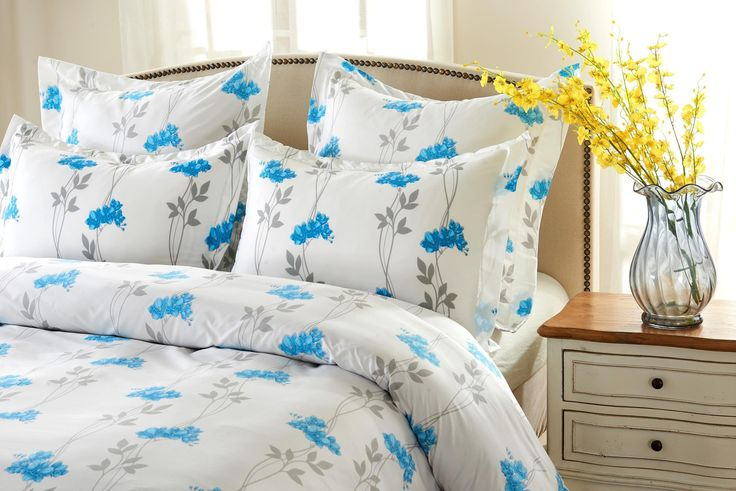 5pc Floral Blue Duvet Cover Set Style # 1025 - Cherry Hill Collection -King / Cal King