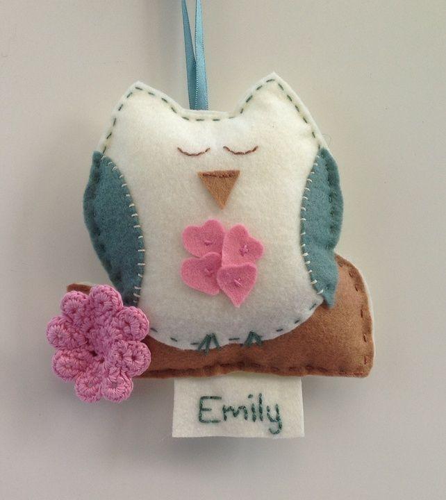 Felt owl wall hanging - door hanger - personalised baby gift