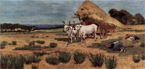 Pause in the Maremma with farmers and ox-cart - Giovanni Fattori