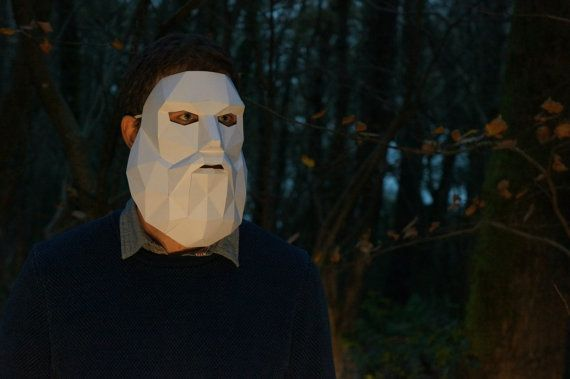 Bearded Man Mask - Make your own from recycled card