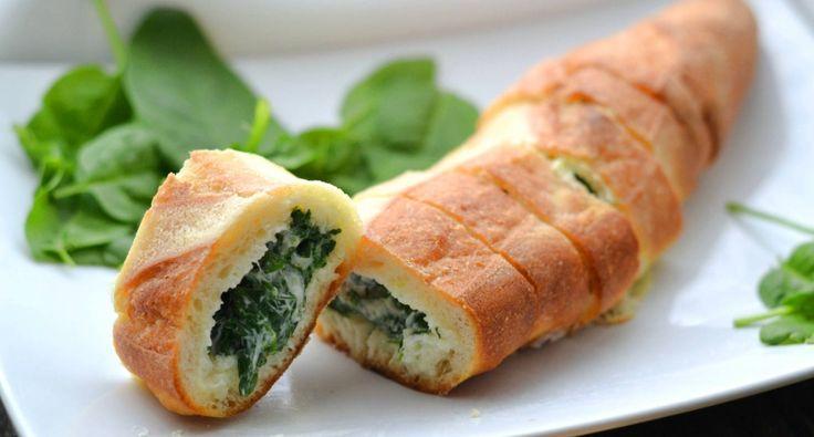 Sajtkrémes spenóttal töltött baguette recept | APRÓSÉF.HU - receptek képekkel