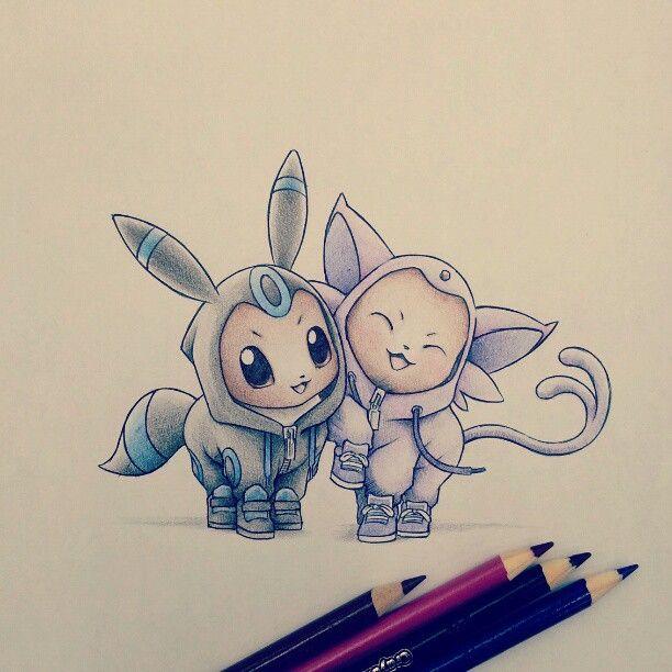 Espeon And Umbreon Eevee Evolutions Drawing Pokemon