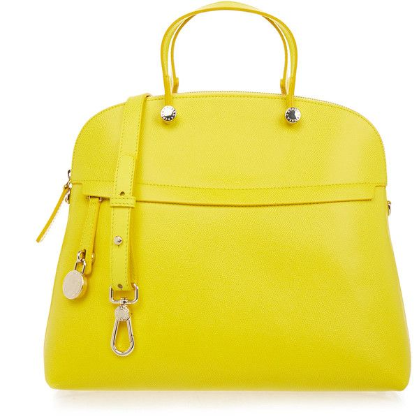 Furla Piper Yellow Large Dome Bag ($215) ❤ liked on Polyvore featuring bags, handbags, shoulder bags, neutrals, yellow purses, yellow shoulder bag, genuine leather handbags, yellow leather purse and real leather purses