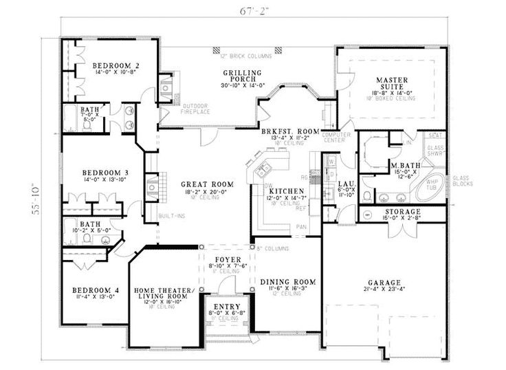 Fromberg traditional home house plans home theaters and Ranch house plans with jack and jill bathroom