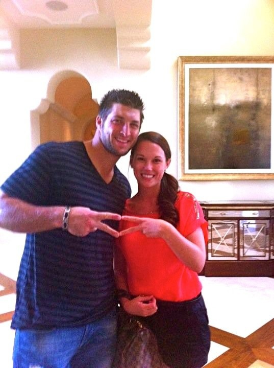 Tim Tebow showing his ADPi love!  Both his mom and sister are members of ADPi from Gamma Iota chapter at the University of Florida.