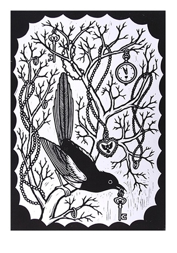 Chris Bourke. Two For Joy. Lino print. Signed and numbered edition of 100.