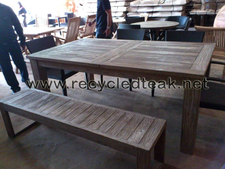 Patio Table And Bench Set Rustic Furniture Recycled Teak Reclaimed Furnitur